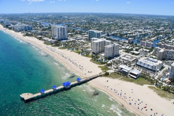 Arial photo of the Pompano Beach Pier area construction. April 2019. Photo by Elaine Fitzgerald
