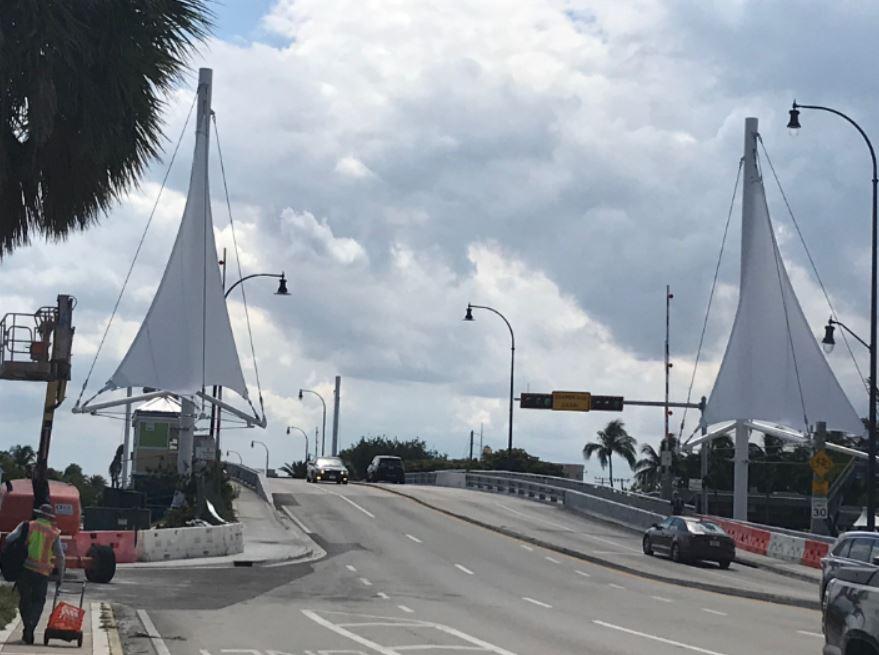 Atlantic Blvd. Bridge sails in Pompano Beach