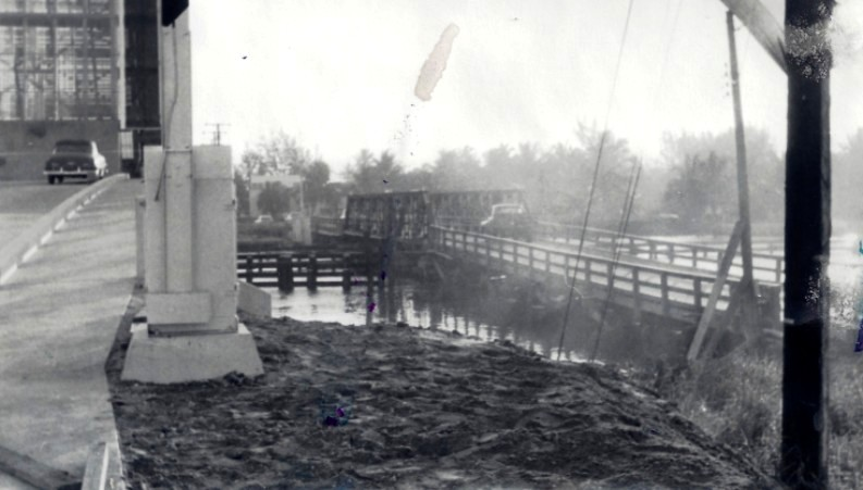 BRIDGE HISTORY- in 1955, before the old bridge was taken down. Courtesy: Pompano Beach Historical Society