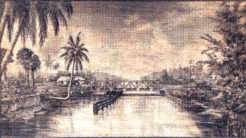 ATLANTIC BLVD. BRIDGE HISTORY- second bridge artist rendering, early 1920's. Courtesy: Pompano Beach Historical Society