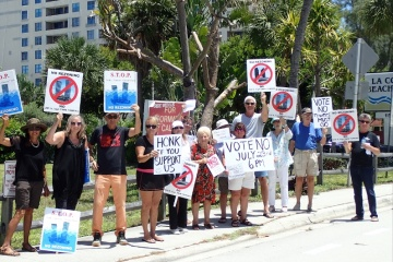 "These protestors are against the building of Pompano Beach ""Twin Towers"" on A1A."