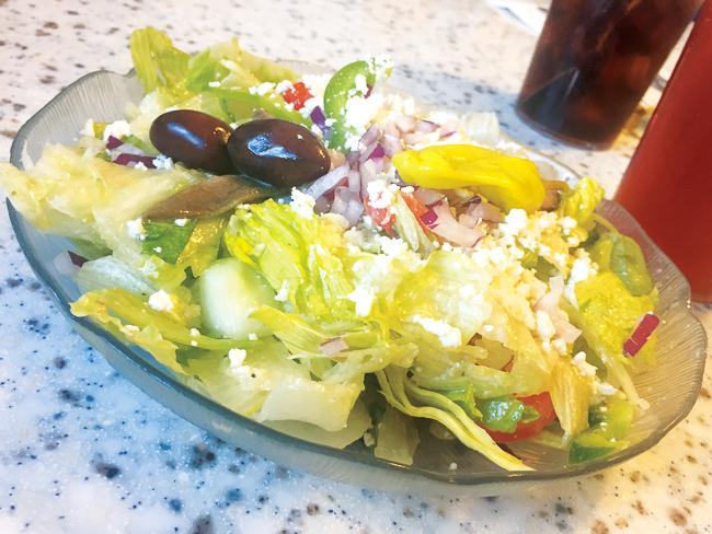 A side Greek salad at Olympia Flame Diner in Deerfield Beach.