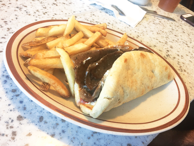 A classic gyro with fries at Olympia Flame diner in Deerfield Beach.