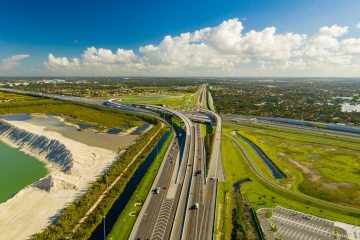 Aerial photo highway overpass Miami Florida Turnpike I75 expressway